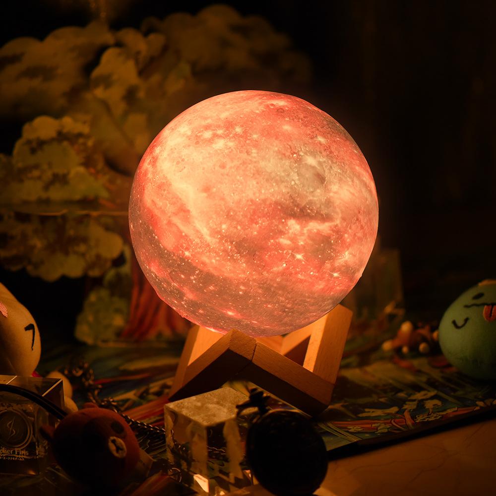 Galaxy Moon Standlı 15cm Gece Lambası Renk Değistiren