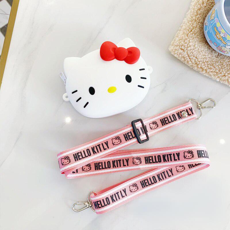 Hello Kitty Silikon Dokulu Omuz Askılı Çanta